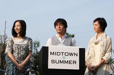 「MIDTOWN SUMMER」オープニングセレモニーに登場した(左から)麻木久仁子、宮沢和史、はな (C)ORICON DD inc.