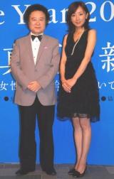 写真展『KISHIN:BIJIN』OPレセプションに登場した、(左から)篠山紀信と、日本テレビ・西尾由佳理アナ (C)ORICON DD inc.
