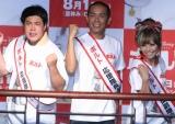 ディズニー映画「ボルト」大ヒット御礼イベントに登場した、(左から)タカアンドトシのタカ、トシ、若槻千夏 (C)ORICON DD inc.