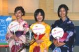 浴衣姿で登場した3人の現役女子高生女優。左から波瑠、大後寿々花、高山侑子(C)ORICON DD inc.