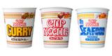 誕生38周年を迎える日清食品の(左から)『カップヌードル カレー』、『カップヌードル』、『カップヌードル シーフードヌードル』