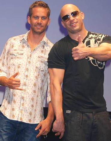 映画『ワイルド・スピード MAX』のジャパンプレミアに登場した(左から)ポール・ウォーカー、ヴィン・ディーゼル (C)ORICON DD inc.