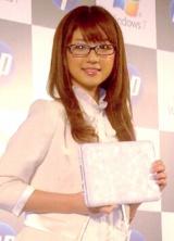 日本ヒューレット・パッカードの個人向けミニノートパソコン新製品発表会に出席した、小倉優子