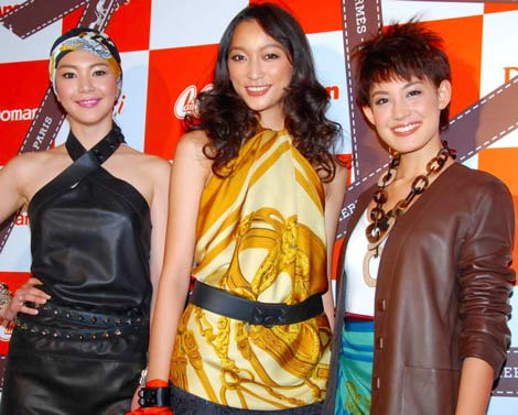 エルメスと小学館ファッション4誌のコラボレーションイベントに参加した(左から)知花くらら、杏、LIZA (C)ORICON DD inc.
