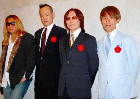 サムネイル 藤本と庄司の結婚披露宴に出席したシャ乱Qメンバー (左から)はたけ、たいせい、つんく♂、まこと (C)ORICON DD inc.