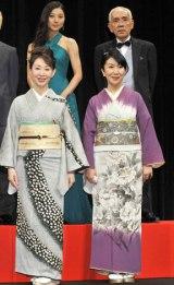 映画『人間失格』の完成披露イベントに出席した(上段左から)小池栄子、荒戸源次郎監督 (下段左から)三田佳子、室井滋