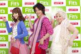 ポーズを決める(左から)佐々木希、佐藤健、渡辺直美