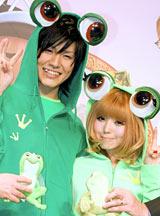 映画『プリンセスと魔法のキス』来日会見で梅田直樹と益若つばさがカエルに早変わり
