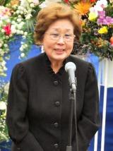 昨年乳がんを患った海老名香葉子が東京大空襲の供養式に出席、元気そうな姿を見せた (C)ORICON DD inc