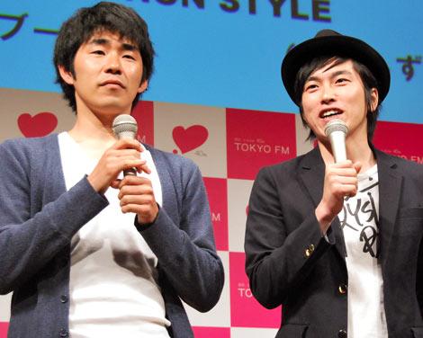 TOKYO FMの春の新番組説明会に出席したしずるの(左から)池田一真と村上純 (C)ORICON DD inc.