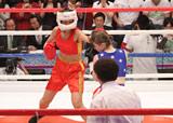 ステファニー・ダブス選手を相手にボクシング対決に挑戦した北陽・虻川美穂子