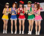 デ☆ビューCD「パンティーストッキング〜!」をPRする美脚戦隊スレンダーの5人C)ORICON DD inc.