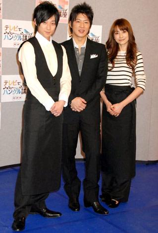 NHK教育テレビ『テレビでハングル講座』に出演する(左から)コン・テユ、細川茂樹、ヨンア (C)ORICON DD inc