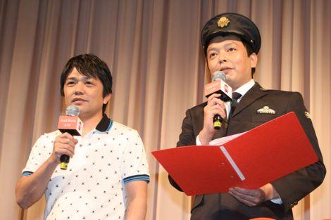 映画『RAILWAYS 49歳で電車の運転士になった男の物語』の女性限定試写会トークショーに出席した中川家(左から兄・剛、弟・礼二) (C)ORICON DD inc.