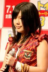 映画『トイ・ストーリー3』の記者会見に出席したAKB48・宮崎美穂