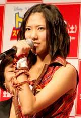 映画『トイ・ストーリー3』の記者会見に出席したAKB48・宮澤佐江