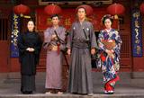 NHK大河ドラマ『龍馬伝』長崎ロケ取材会に出席した(左から)余貴美子、伊勢谷友介、福山雅治、蒼井優