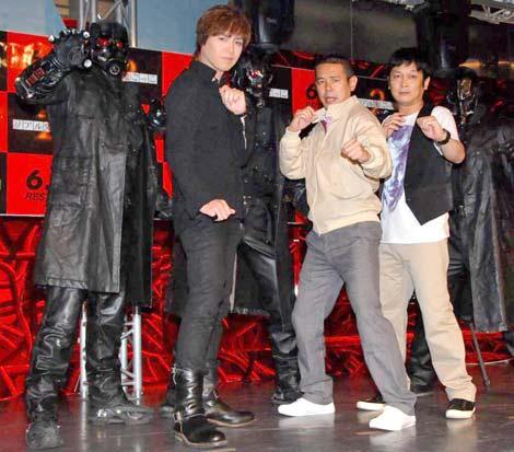 映画『リアル鬼ごっこ2』公開記念イベントに出席した(左から)IZAM、デンジャラス・ノッチと安田和博 (C)ORICON DD inc.