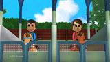 ジョッキーとなった二宮和也と櫻井翔(右)のMii/『Wii Party』新CM