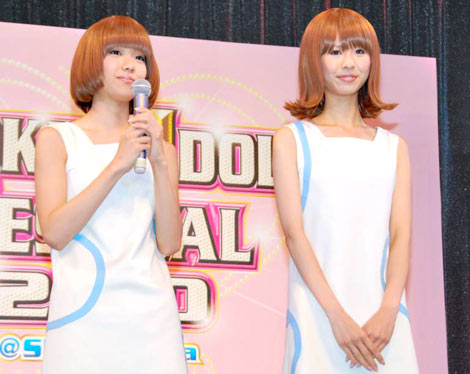 史上初のアイドルフェス『TOKYO IDOL FESTIVAL 2010』制作記者発表会見に出席したバニラビーンズの(左から)レナとリサ (C)ORICON DD inc.