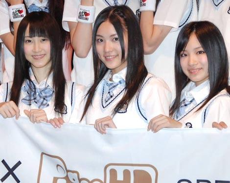 『SKE48学園■祭 バンドしちゃおうLIVE!!』への意気込みを語った(左から)松井玲奈、松井珠理奈、矢神久美  ※■はハートマーク (C)ORICON DD inc.