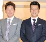 NHKドキュメント番組『ファミリーヒストリー』の収録後会見を行ったガレッジセールの(左から)川田広樹、ゴリ (C)ORICON DD inc.