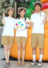 夏の恒例イベント『汐留博覧会2010』キックオフイベントに参加した、日本テレビアナウンサーの(左から)鈴江奈々、西尾由佳理、上重聡 (C)ORICON DD inc.