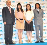 『WOW FES!2010』の制作発表会見に出席した(左から)WOWOW代表取締役社長の和崎信哉氏、石原さとみ、杉山愛、北澤豪 (C)ORICON DD inc.