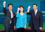 『熱闘甲子園30th展』のオープニングイベントに出席した(左から)栗山英樹氏、長島三奈、桑田真澄氏
