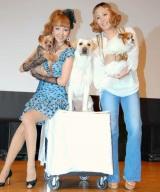 映画『きな子〜見習い犬の物語〜』の愛犬家トークショーイベントに出席した(左から)愛犬のロケット君と神田うの、Metis (C)ORICON DD inc.