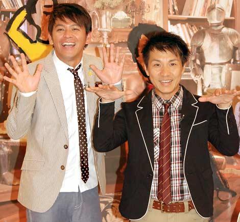 NHK情報番組『名作ホスピタル〜アニメから学ぶ健康学〜』の会見に出席したますだおかだの(左から)岡田圭右、増田英彦 (C)ORICON DD inc.