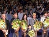 映画『アブラクサスの祭』舞台あいさつに出席した(左から)加藤直輝監督、小林薫、ともさかりえ、山口拓、スネオヘアー、原作者の玄侑宗久
