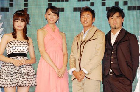 『JAPAN国際コンテンツフェスティバル2010』のグランドセレモニーに出席した(左から)麻生夏子、杏、キマグレンのクレイ、イセキ (C)ORICON DD inc.