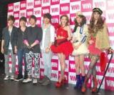(左から)FTIslandのメンバー、藤井リナ、木下優樹菜、渡辺知夏子 (C)ORICON DD inc.