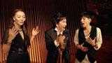 『ルーツ アロマインパクト』CMに出演する(左から)杏里、布施明、堂珍嘉邦