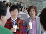 マツコ・デラックスににらまれ怯える佐藤浩市と大泉洋(左)/JRA『CLUB KEIBA』新CM