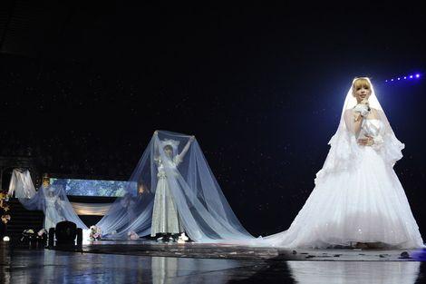 50mのロングベールをつけたウェディングドレス