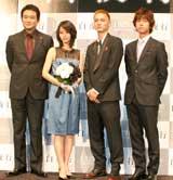 (左から)船越英一郎、堀北、高良健吾、深川栄洋監督 (C)ORICON DD inc.