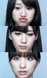 ニキビの出現に変顔になってしまう(上から)AKB48の大島優子、小嶋陽菜、篠田麻里子