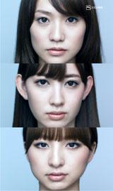 真顔の3人(上から)大島優子、小嶋陽菜、篠田麻里子/『ハイチオールB』(エスエス製薬)