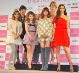 ママイベント『mama fes 2010』に参加した(前列左から)中林美和、ダルビッシュ紗栄子、hitomi、道端カレン (後列左から)岡田圭右(ますだおかだ)、柿沢安耶、IKKO (C)ORICON DD inc.