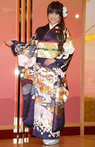 オスカープロモーション恒例の晴れ着撮影会に参加した福田沙紀 (C)ORICON DD inc.