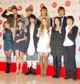 出場者決定会見に出席した(写真前列右端3人)西野カナ、植村花菜、クミコ、(7人)AAA (C)ORICON DD inc.