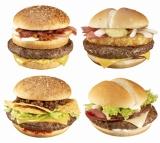 2011年1月7日より順次発売される『Big America2』(上段左から)『テキサス2バーガー』、『アイダホバーガー』、(下段左から)『マイアミバーガー』、『マンハッタンバーガー』