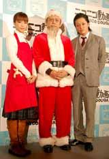 ミュージカル『クリスマスキャロル』の舞台稽古前に報道陣の取材に応じた(左から)安田美沙子、堀江貴文氏、宮下雄也