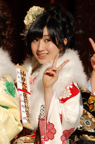 今年成人式を迎え振袖姿を披露したAKB48・片山陽加 (C)ORICON DD inc.