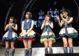 デビューが発表された『AKB48リクエストアワー セットリストベスト100 2011』2日目公演の模様 ※写真左から 北原里英、横山由依、大島優子、指原莉乃