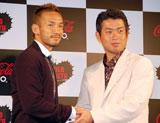 『コカ・コーラ ゼロ』新CM発表イベントに出席した、(左から)中田英寿、プロゴルファー・池田勇太選手 (C)ORICON DD inc.