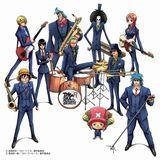 ワンピースとトリコのキャラクターがスカパラに扮して新曲ジャケットに登場 (前列左から)ルフィ、チョッパー、トリコ (中列左から)ロビン、ゾロ、ウソップ (後列左から)サンジ、フランキー、ブルック、ナミ