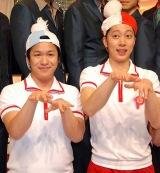 バラエティ番組『ピラメキーノ』(テレビ東京系)の放送500回を記念して会見を行ったはんにゃの(左から)川島章良、金田哲 (C)ORICON DD inc.